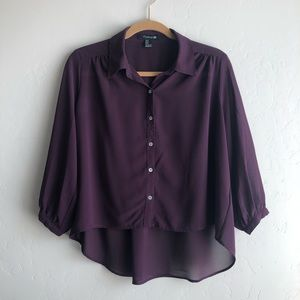 Purple forever 21 button up top
